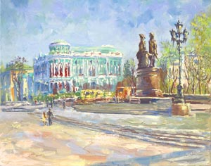 Ekaterina Tyutina - At the Square of Labor; oil painting: oil on canvas
