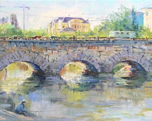 Ekaterina Tyutina - The light of the city morning. Stone bridge on the Malysheva street; oil painting: oil on canvas