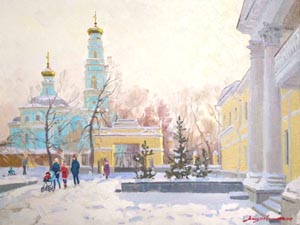 Dmitry Vassiliev - On Voznesenskaya hill; oil painting: oil on canvas