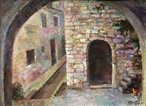 Vladimir Volosov - Old town; oil painting: oil on canvas