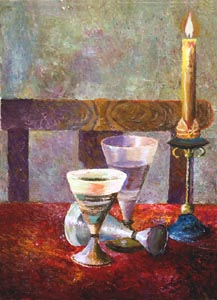 Vladimir Volosov - Candle on the Table; oil painting: oil on canvas